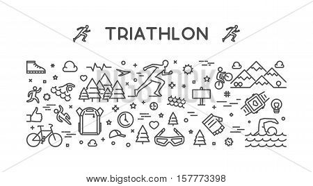 Vector line horizontal concept for triathlon. Linear banner for triathlon. Open path.