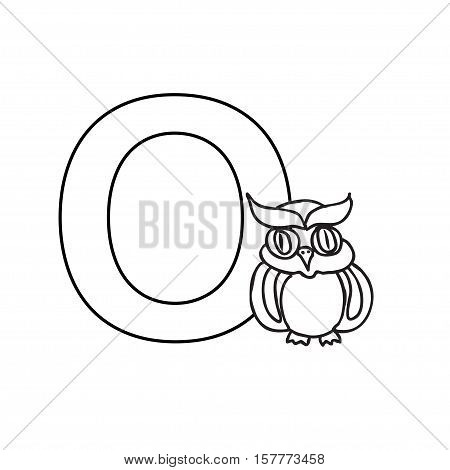 Baby  animals  alphabet  kids coloring  page isolated on white