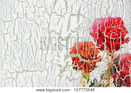 Decoupage cracked textured old wall grounge flower background