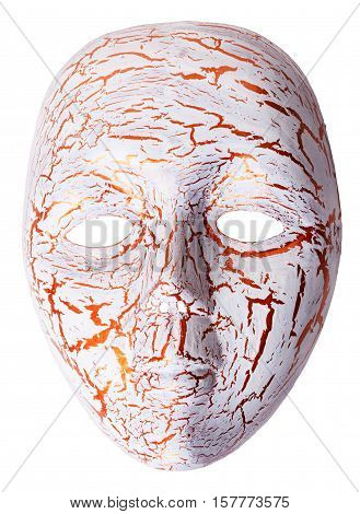 Carnaval isolated golden cracked theatrical antique mask on a white background