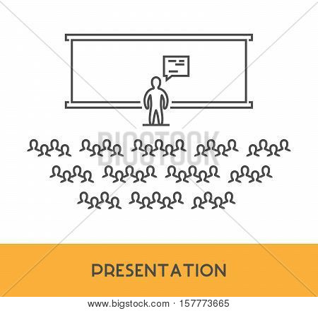 Line icon presentation training and seminar. Vector business symbol logo and banner.