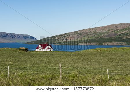 A lonely white house with red roof on a meadow with mountains in the background in the Westfjords on Iceland.
