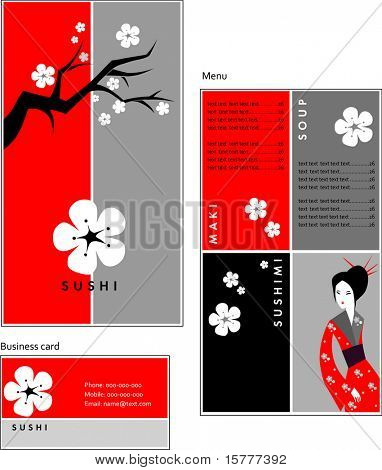 Template designs of menu and business card for coffee shop, SUSHI BAR and restaurant, vector file include