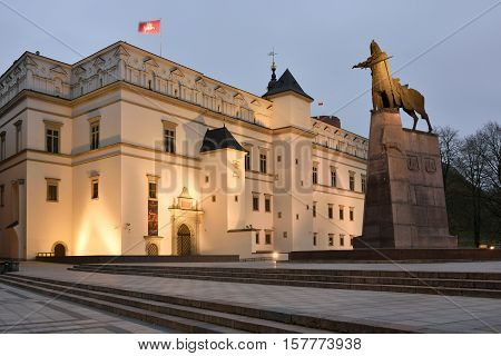 VILNIUS NOVEMBER 21: Palace of the Grand Dukes of Lithuania on November 21 2016 in Vilnius Lithuania. Vilnius is the capital of Lithuania and its largest city.