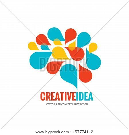 Creative idea - business vector logo template concept illustration. Abstract human brain creative sign. Infographic symbol. Design element.