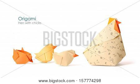 Care hen with chicks origami on white background
