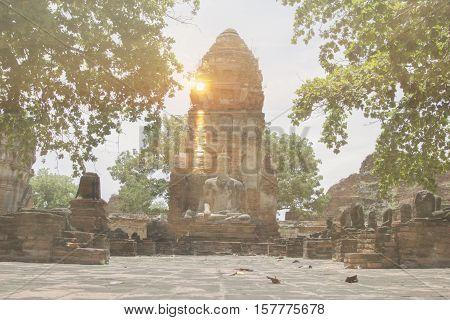 The sunset at Wat Mahathat Ayuthaya Thailand