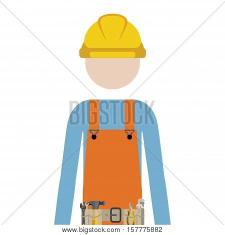 half body man worker with toolkit vector illustration