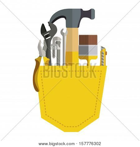 toolkit inside of pocket pant vector illustration