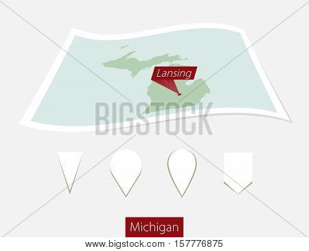 Curved Paper Map Of Michigan State With Capital Lansing On Gray Background. Four Different Map Pin S