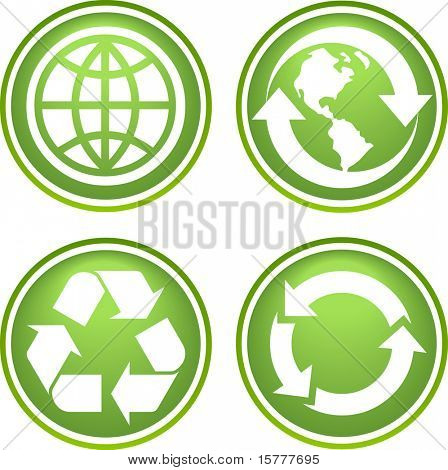 Collection of recycle icons poster
