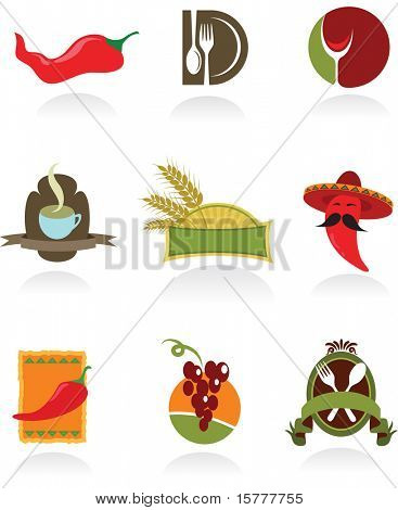 Template designs of icons for coffee shop and restaurants