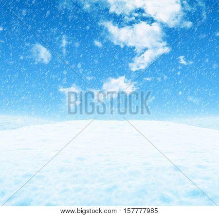 White snowy landscape under a blue sky with light clouds. 3D illustration.