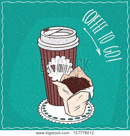 Paper Cup Of Coffee With Chocolate Muffin