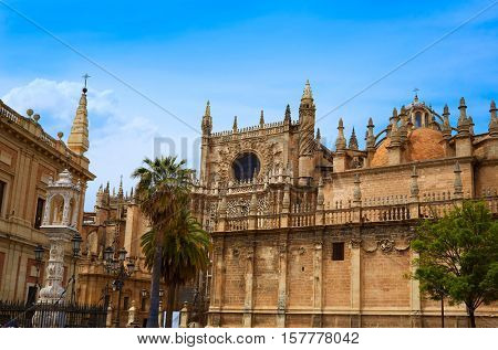Seville cathedral and Archivo Indias Sevilla Andalusia Spain
