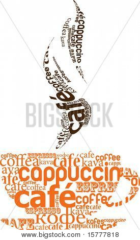 cup of coffee made from typography, vector