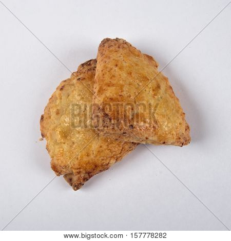 Cottage cheese biscuits homework on a white background.