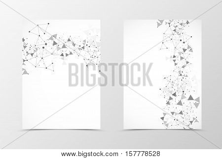 Front and back digital flyer template design. Abstract template in gray colors with dot and triangle pattern in polygonal style. Vector illustration