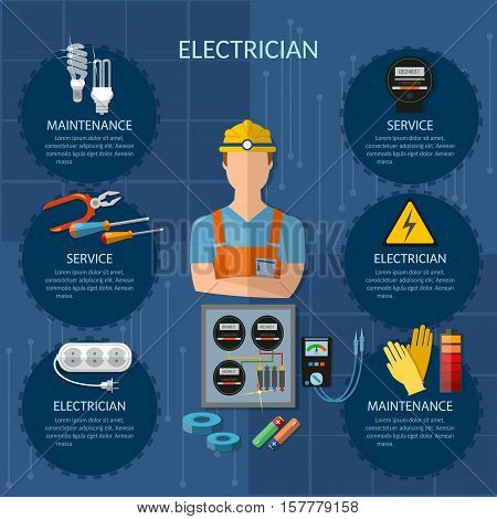 Professional electrician infographics electricity tools installation and repair electrical equipment installation of electric meter electrical repairs vector illustration