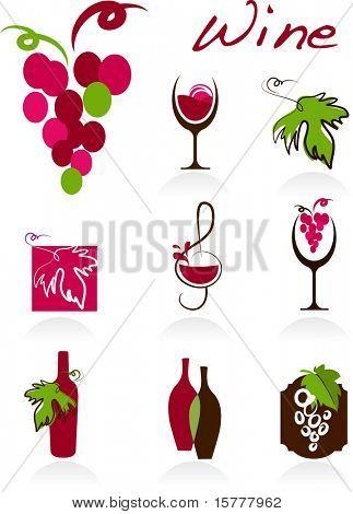 Sammlung von Wein-Symbole