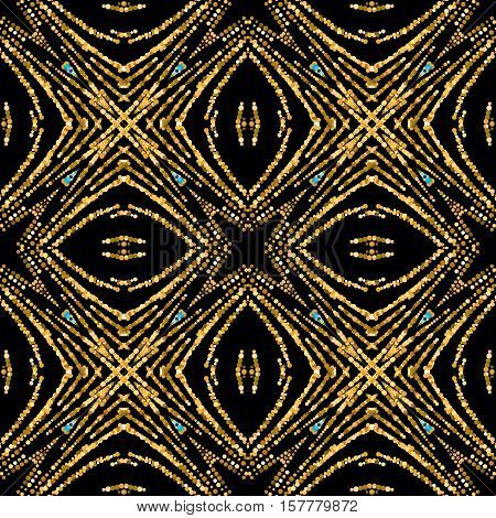 Luxury festive seamless pattern with shiny golden glitters. Vector illustration of glittering seamless background. Applicable for print, fabric or package design