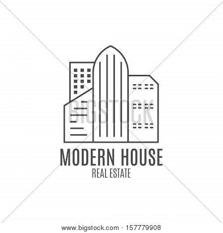 modern house logo design, real estate icon suitable for info graphics, websites and print media. , flat icon, badge, label, clip art. Lineart style. Thin line design. Monochrome design.