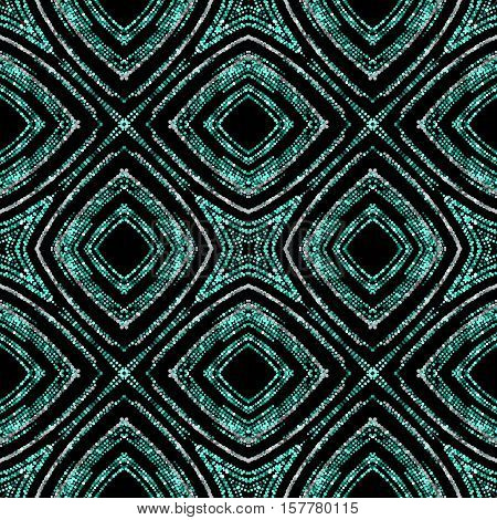 Luxury festive seamless pattern with shiny turquoise and silver glitters. Vector illustration of glittering seamless background. Applicable for print, fabric or package design. Moroccan pattern