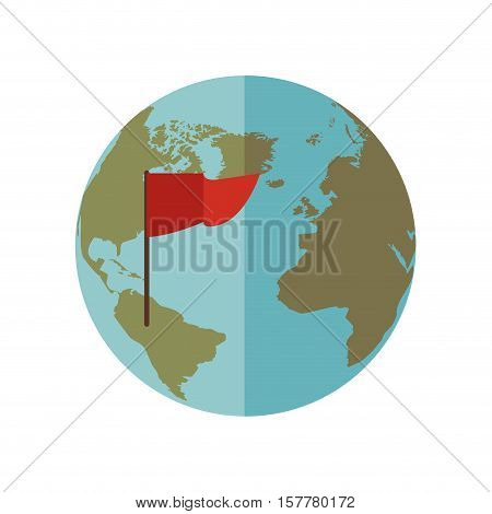 blue sphere world with red Flag vector illustration