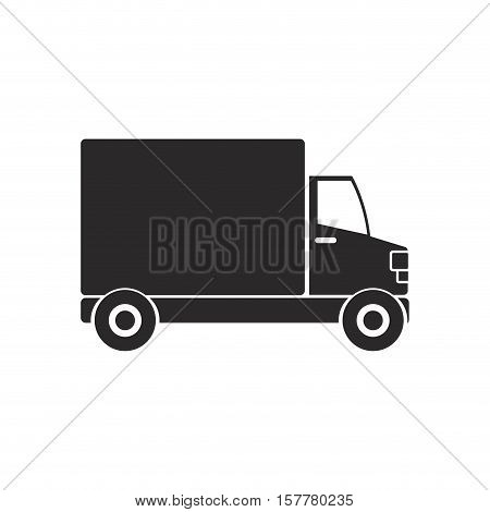 black silhouette transport truck with vagon vector illustration