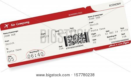 Vector image of airline boarding pass ticket. Isolated on white. Vector illustration