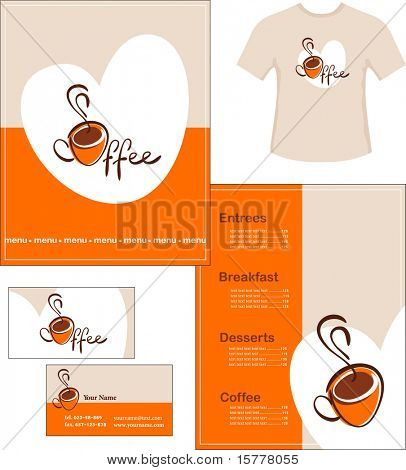 Template designs of menu, t-shirt and business card for coffee shop and restaurant, vector file include