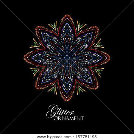 Luxury festive ornament with shiny multicolored glitters. Vector illustration. Vintage glittering ornament. Jewelery pattern. Arabic paillettes decoration poster