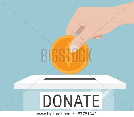 Hand Putting Money Coin To Donate Box Vector Illustration