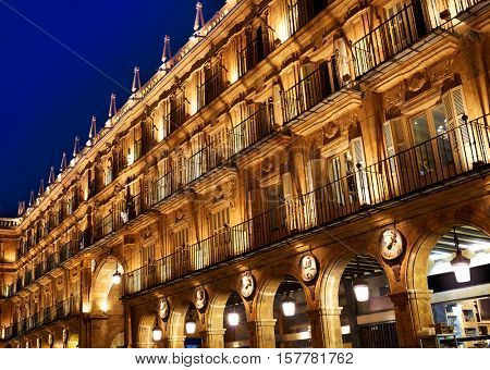 Salamanca Plaza Mayor in Spain along via de la Plata way to Santiago
