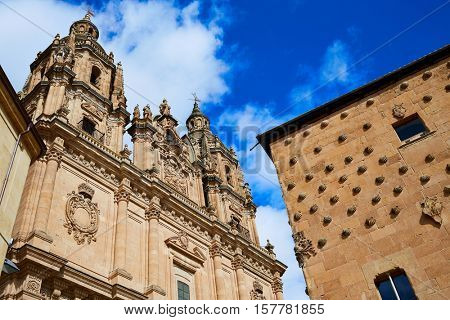 Salamanca Clerecia church and Casa Conchas shell house in Spain