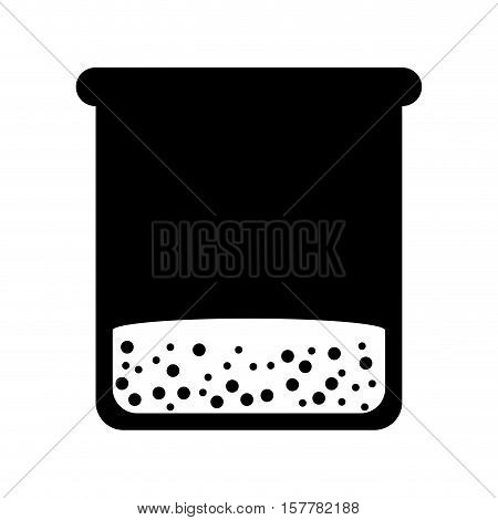 silhouette glass bottle for laboratory with liquid solution vector illustration