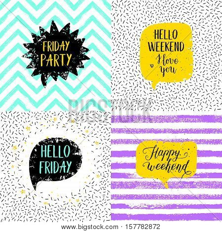 Hello Friday Happy weekend Happy Friday Today is going to be awesome greeting cards posters prints set. Vector hand lettering quote on stripe confetti background.