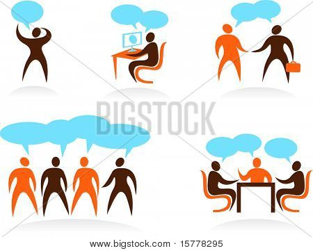 set of businessman are talking icons