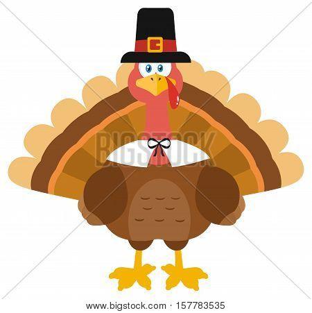 Thanksgiving Turkey Bird Wearing A Pilgrim Hat. Illustration Flat Design Isolated On White Background