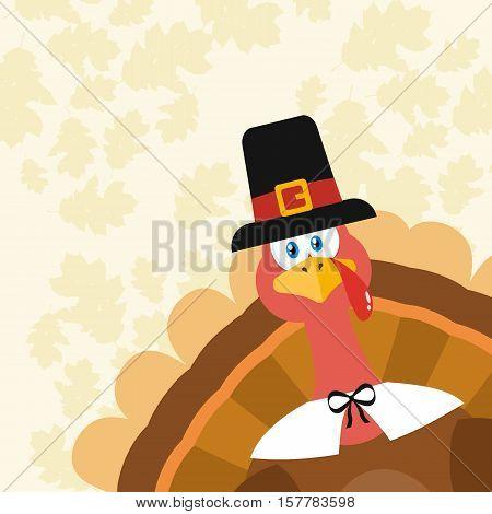 Pilgrim Turkey Bird Cartoon Mascot Character Peeking From A Corner. Illustration Flat Design Over Background With Autumn Leaves