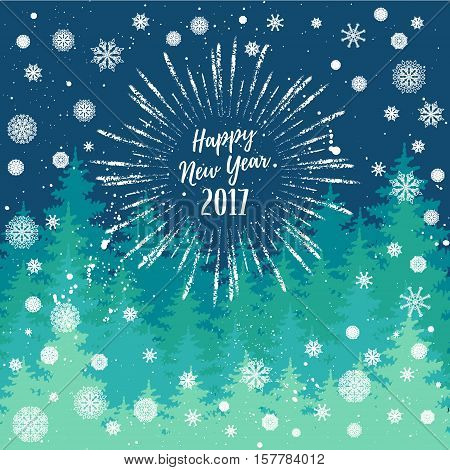 Happy New Year 2017 greeting card. Vector winter holidays backgrounds with starburst hand lettering calligraphic snowflakes trees falling snow.