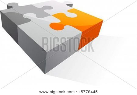 Abstract 3D puzzle design element - vector illustration