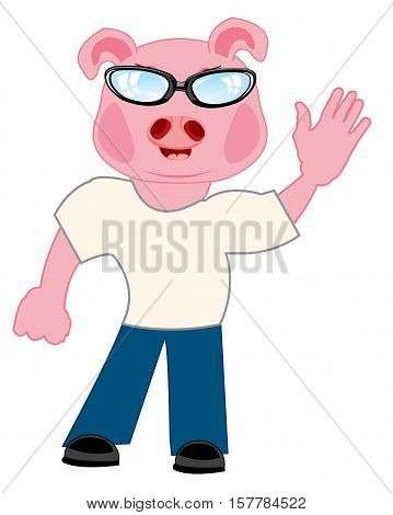 Comic personage of the person with head piglet