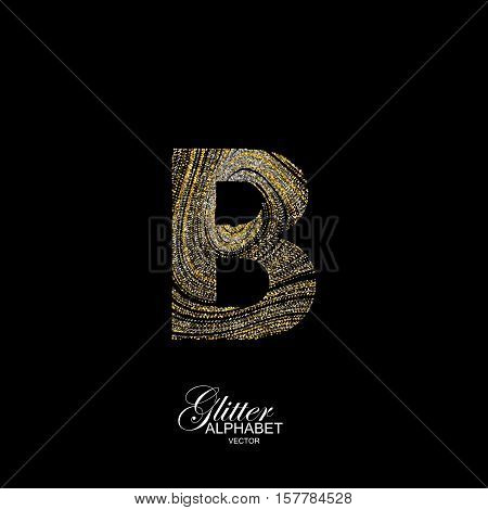 Letter B of golden and silver glitters. Typographic vector element for design. Part of marble texture imitation alphabet. Letter B with diffusion glitter lines swirly pattern. Vector illustration