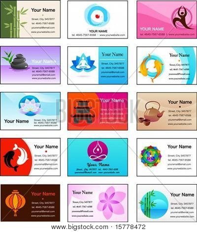 Yoga,Zen and alternative medicine business card templates - vector illustration