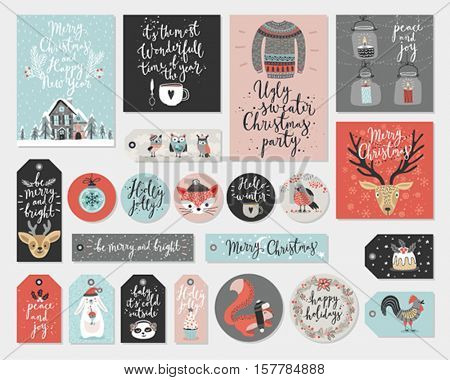 Christmas cards and tags set, hand drawn style. Vector illustration.
