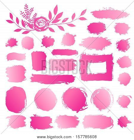 Hand drawn abstract make up cosmetic stains paint brush strokes. Vector set collection of pink gradient acrylic smears paint isolated on white background. poster