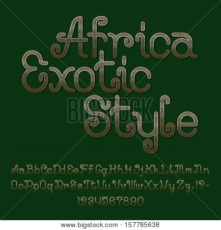 Golden wavy striped curly font. Isolated english alphabet of capital and lowercase letters with numbers and punctuation marks. Africa Exotic Style text lettering.