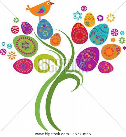 Easter tree with colored eggs and flowers
