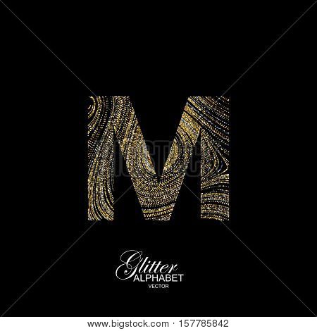 Letter M of golden and silver glitters. Typographic vector element for design. Part of marble texture imitation alphabet. Letter M with diffusion glitter lines swirly pattern. Vector illustration